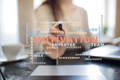 Conceito da motivação na tela virtual Nuvem das palavras Foto de Stock Royalty Free