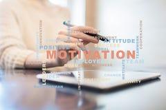 Conceito da motivação na tela virtual Nuvem das palavras Imagens de Stock
