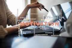 Conceito da motivação na tela virtual Nuvem das palavras Imagem de Stock Royalty Free