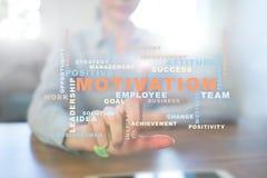 Conceito da motivação na tela virtual Nuvem das palavras Fotos de Stock Royalty Free