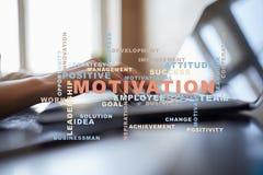 Conceito da motivação na tela virtual Nuvem das palavras Fotos de Stock