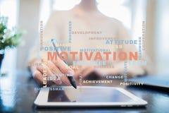Conceito da motivação na tela virtual Nuvem das palavras fotografia de stock royalty free