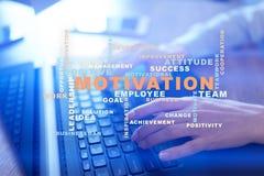 Conceito da motivação na tela virtual Nuvem das palavras imagens de stock royalty free