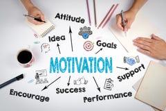 Conceito da motivação A reunião na tabela branca do escritório imagens de stock royalty free