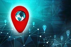 Conceito da navegação, navegação dos Gps, destino do curso, lugar e conceito do posicionamento ilustração 3D Imagem de Stock