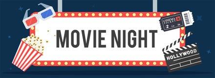Conceito da noite de cinema Molde criativo para o cinema ilustração stock