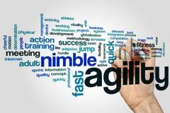 Conceito da nuvem da palavra da agilidade no fundo cinzento Imagem de Stock