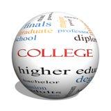Conceito da nuvem da palavra da esfera da faculdade 3D Fotos de Stock Royalty Free