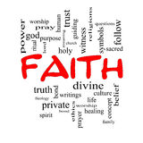 Conceito da nuvem da palavra da fé em tampões vermelhos Fotografia de Stock