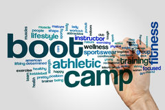 Conceito da nuvem da palavra do campo de treinos de novos recrutas no fundo cinzento Fotografia de Stock Royalty Free
