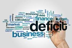 Conceito da nuvem da palavra do deficit no fundo cinzento Imagem de Stock Royalty Free