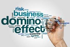 Conceito da nuvem da palavra do efeito de dominó no fundo cinzento Imagem de Stock Royalty Free