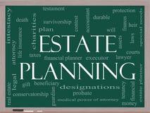 Conceito da nuvem da palavra do planeamento imobiliário em um quadro-negro Foto de Stock Royalty Free