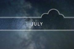 Conceito da nuvem da palavra de JULHO Fundo do espaço Foto de Stock Royalty Free