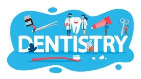 Conceito da odontologia Ideia dos cuidados dentários e da higiene oral ilustração royalty free