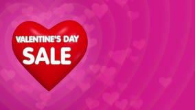 Conceito da oferta do disconto do dia de Valentim, coração 3D vermelho grande de voo com rotulação video estoque