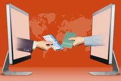 conceito da Olá!-tecnologia, duas mãos dos monitores bilhete e passaporte de ar ilustração 3D Imagens de Stock