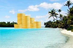 Conceito da operação bancária a pouca distância do mar e dos abrigos de imposto Imagem de Stock