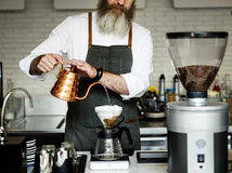 Conceito da ordem de Barista Prepare Coffee Working imagem de stock