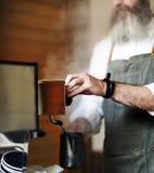 Conceito da ordem de Barista Prepare Coffee Working imagens de stock