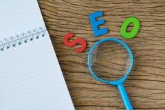 Conceito da otimização do motor de SEO Search como o abbr colorido do alfabeto Imagem de Stock