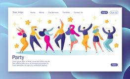 Conceito da página de aterrissagem com os povos de dança felizes novos Homens novos e mulheres que apreciam o dance party Ilustra ilustração do vetor