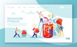 Conceito da página de aterrissagem no tema caseiro dos produtos Conceito da produção do doce ilustração do vetor