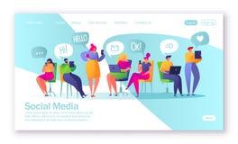 Conceito da página de aterrissagem no tema social dos meios Ilustração do vetor para o desenvolvimento do Web site e o projeto mó ilustração stock
