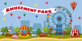 Conceito da paisagem do parque de diversões, estilo dos desenhos animados ilustração royalty free