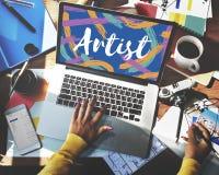 Conceito da palavra de Ideas Creative Imagine do artista fotografia de stock