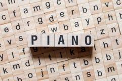 Conceito da palavra do piano foto de stock