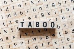 Conceito da palavra do tabu em cubos imagem de stock