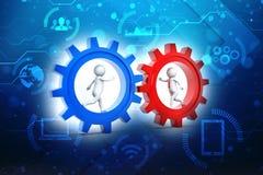 Conceito da parceria Homem de negócios que corre dentro da engrenagem 3D rendido ilustração stock