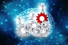 Conceito da parceria Homem de negócios que corre dentro da engrenagem 3D rendido ilustração do vetor