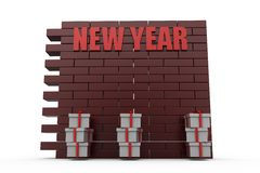 conceito da parede do ano 3d novo Fotos de Stock