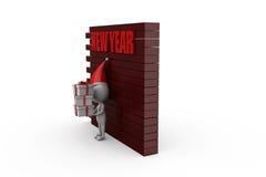 conceito da parede do ano novo do homem 3d Foto de Stock