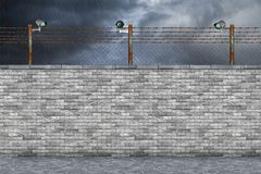 Conceito da parede da prisão da beira ilustração stock