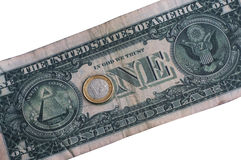 Conceito da paridade de dólar do Euro Imagem de Stock