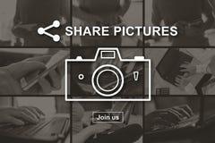 Conceito da partilha das imagens imagens de stock