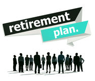 Conceito da pensão do planeamento de aposentação do plano de aposentação Imagens de Stock Royalty Free