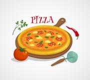 Conceito da pizza com pimenta do tomate e manjericão, ilustração dos desenhos animados do vetor Imagens de Stock