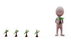 conceito da plantação do homem 3d Fotos de Stock Royalty Free