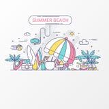 Conceito da praia do verão O feriado contém o tubo de respiração do elemento, o guarda-chuva de praia, o suco do coco, o chapéu d ilustração do vetor