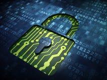 Conceito da privacidade: Cadeado fechado na tela digital Fotografia de Stock Royalty Free