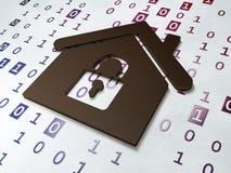 Conceito da privacidade:  Casa no fundo do código binário Imagens de Stock Royalty Free