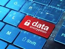 Conceito da privacidade: Criptografia fechado do cadeado e de dados no fundo do teclado de computador