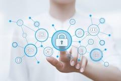 Conceito da privacidade da tecnologia do negócio da proteção de dados da segurança do Cyber imagens de stock