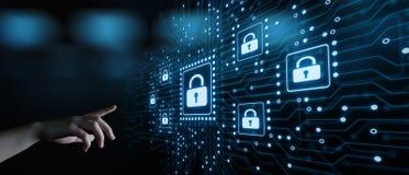 Conceito da privacidade da tecnologia do negócio da proteção de dados da segurança do Cyber imagem de stock