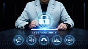 Conceito da privacidade da tecnologia do negócio da proteção de dados da segurança do Cyber foto de stock