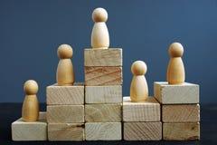 Conceito da produtividade do empregado Blocos e estatuetas de madeira Avaliação na hora imagens de stock
